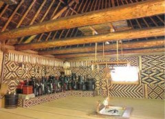 A room equipped with patterned matting on the wall