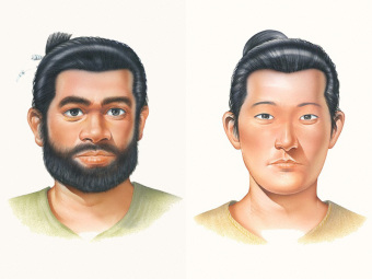 Reconstructed faces of Jomon (left) and Yayoi (right) men