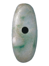 Large jade beads unearthed at the Funadomari Site in Rebun
