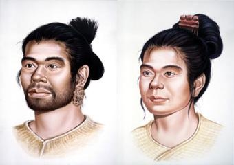 Conceptual illustration of a Jomon man